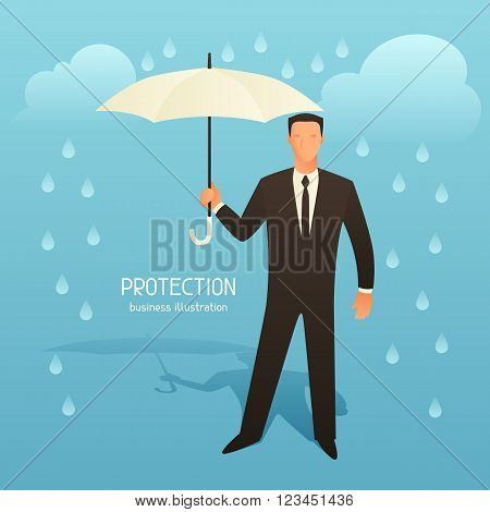 Protection business conceptual illustration with businessman holding umbrella. Image for web sites, articles, magazines.