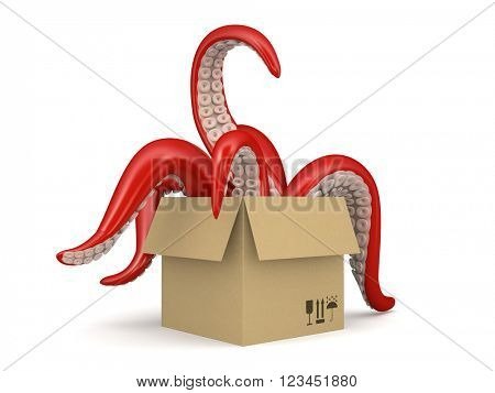 red tentacles in a cardboard box isolated on white background