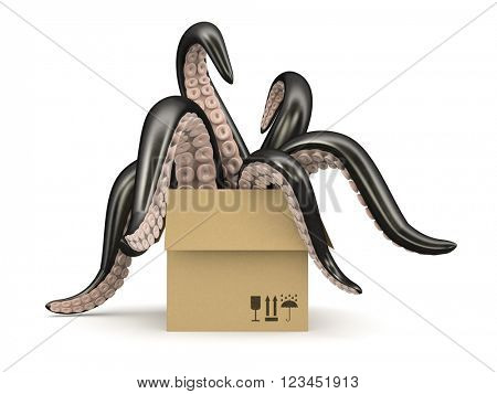 Black tentacles in a cardboard box isolated on white background