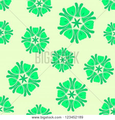 Seamless green background boho chic. A series of universal patterns.