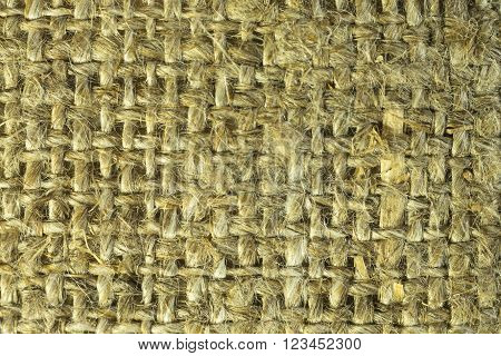 Natural sackcloth textured background. Grunge burlap sackcloth hessian sack texture. Vintage country canvas beige pattern macro closeup view