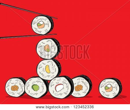 an illustration of a variety of sushi rolls with chopsticks on a red background