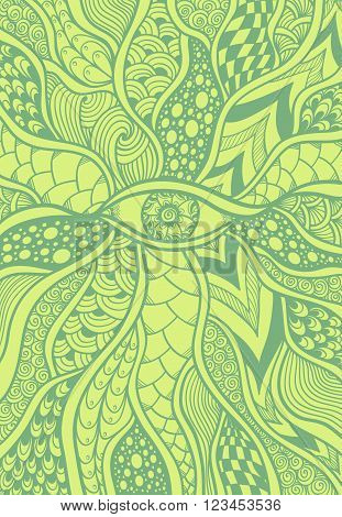 Zen-doodle or Zen-tangle texture or pattern with eye  in olive light  green for  wallpaper or for decorate package clothes or different things