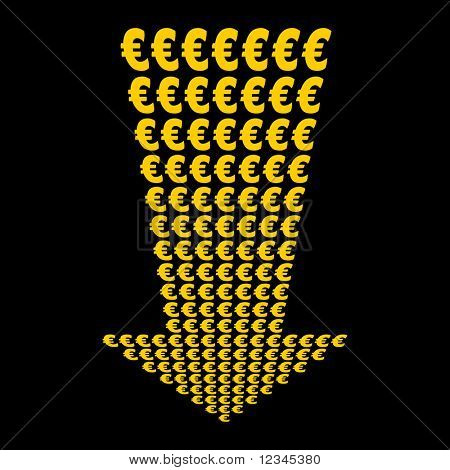 Euros symbol arrow pointing downwards illustration JPEG