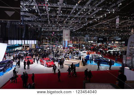 GENEVA, SWITZERLAND - MARCH 1: Geneva Motor Show on March 1, 2016 in Geneva, Toyota and Lexus stand wide view