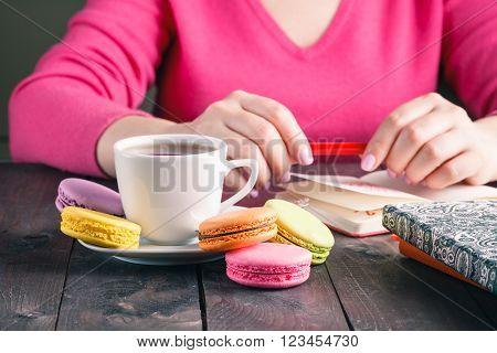 Employee Woman Drinking Morning Tea Of Coffee