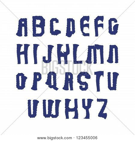 Uppercase brushed capital letters hand-painted bright vector alphabet letters