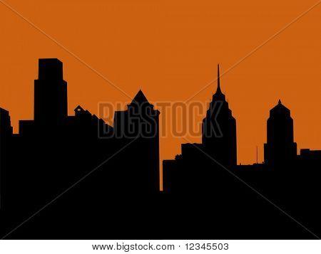 Philadelphia skyline at sunset illustration