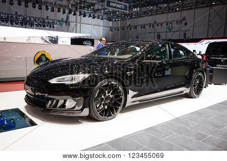 GENEVA, SWITZERLAND - MARCH 1: Geneva Motor Show on March 1, 2016 in Geneva, Brabus Tesla Model S, front-side view