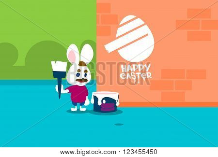 Rabbit Group Standing On Step Ladder Hold Brush Paint Happy Easter On Wall Holiday Banner Greeting Card Vector Illustration