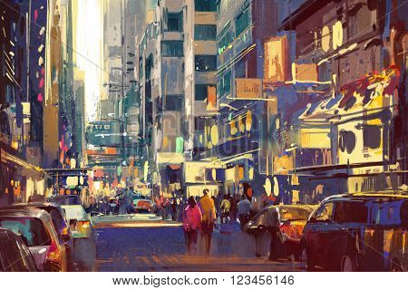 colorful painting of people walking on city street, cityscape illustration