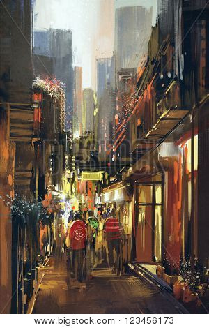 people in alleyway, illustration digital painting, cityscape