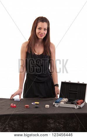 Beautiful Girl Dealer Behind A Table For Game In Poker On White Background