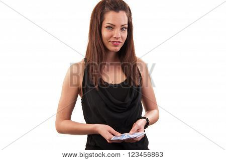 Sexy beautiful young girl in casino on white background