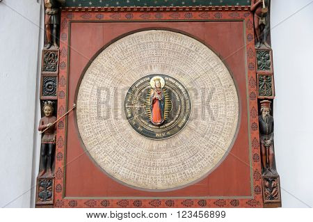 GDANSK POLAND - JULY 6 2009: The calendar of saints of the Gdansk Astronomical Clock by Hans Duringer in St. Mary's Basilica