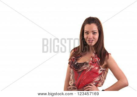 Fashion Photo Of Young Beautiful Young Woman Against White Background, Studio Photo, Space For Copy