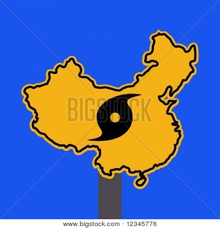 China warning sign with typhoon symbol on blue illustration
