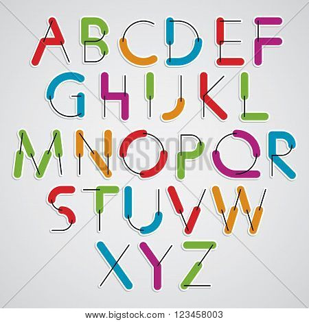 Simple vector colorful font cartoon rounded letters.