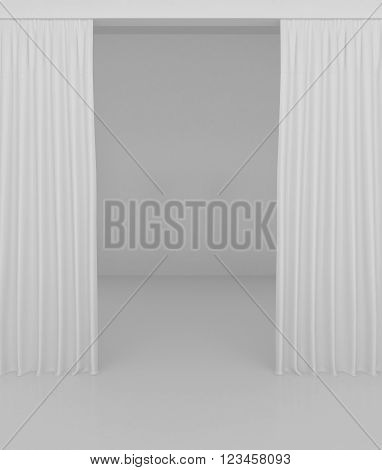 Blank white curtain or drapes on white-gray background.