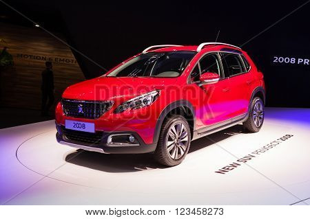GENEVA, SWITZERLAND - MARCH 1: Geneva Motor Show on March 1, 2016 in Geneva, Peugeot 2008, front-side view