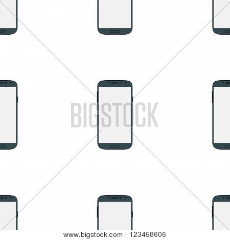 Seamless blue mobile phone set with blank screen isolated on white background. Modern concept smartphone device with digital display. Illustration mockup. Vector EPS10