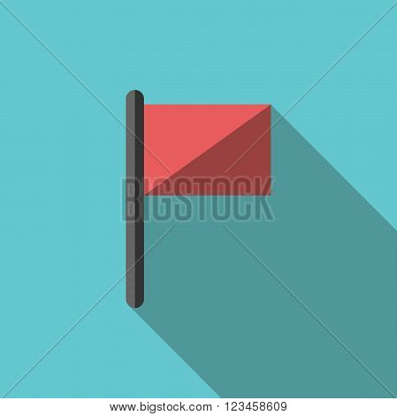 Red flag with long shadow on turquoise blue background. Flat style icon. Start travel event goal concept. EPS 8 vector illustration no transparency