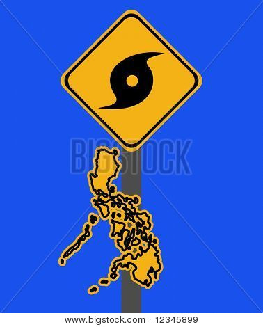 Philippines warning sign with typhoon symbol on blue illustration