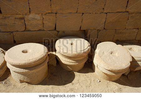 Broken marble columns in Mamshit National parkIsrael.