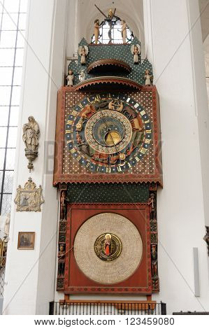 GDANSK POLAND - JULY 6 2009: Gdansk Astronomical Clock by Hans Duringer in St. Mary's Basilica