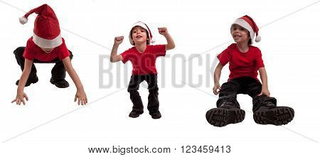Happy Child With Christmas Hat And Various Expressions - A Collage Of Laughter, Mystery And Fun