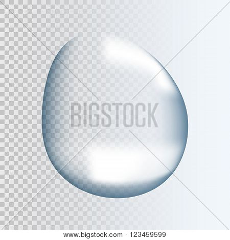 Realistic pure and transparent water drop with shadow on gray background. Vector illustration EPS 10