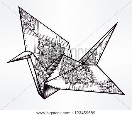 Origami  ornate crane bird. Paper crane stylized triangle polygonal model with paisley details . Hand drawn isolated vector illustration. Invitation element. Tattoo, oriental, boho, hope symbol.