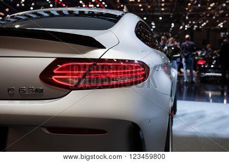 GENEVA, SWITZERLAND - MARCH 1: Geneva Motor Show on March 1, 2016 in Geneva, Mercedes-AMG C 63 S Coupe, taillight