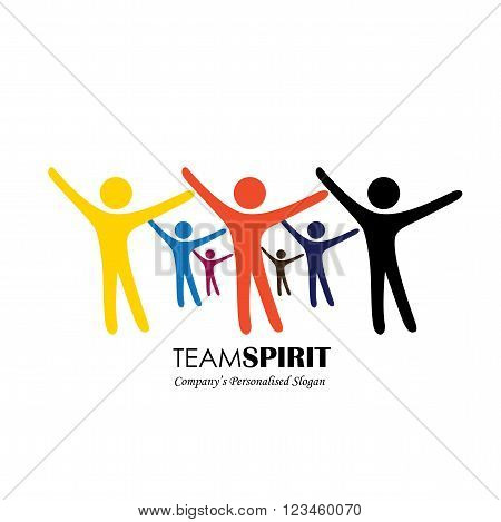 Team & Teamwork, Excited Employees, Motivated People - Vector Icon