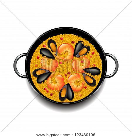 Paella isolated on white photo-realistic vector illustration