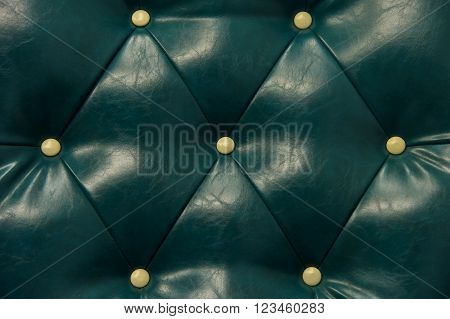 Antique Green Leather And Button Sofa