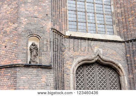 Sculpture of Virgin Mary and baby Jesus at St. Mary's Basilica in Gdansk