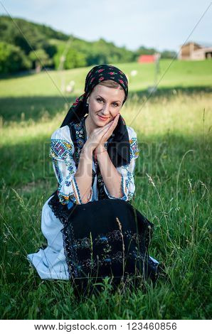 Young Beautiful Singer Posing In Traditional Costume, Romanian Folklore