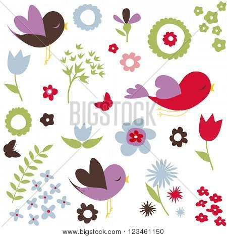 Birds and flowers, spring background