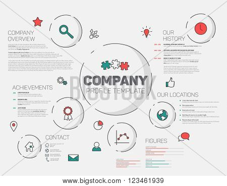 Vector Company infographic profile design template with modern hipster thin line icons (red and teal)