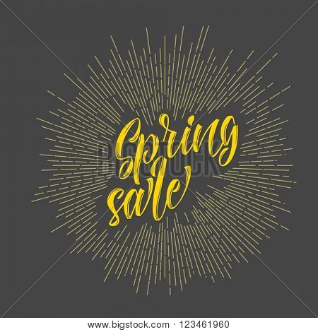 Modern hipster spring sale - lettering with sunrays