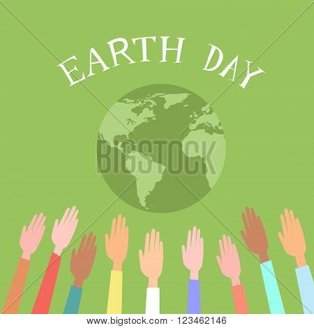 People Raised Up Hands World Earth Day Green Globe Vector Illustration