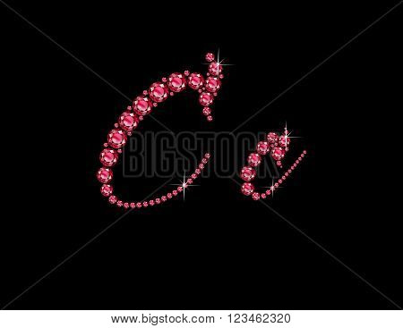 Cc in stunning Ruby Script precious round jewels isolated on black.