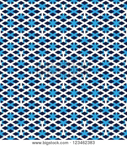 Blue abstract seamless pattern with interweave lines. Vector overlay pattern with geometric figures. Endless decorative background. Ornate backdrop with rhombs.