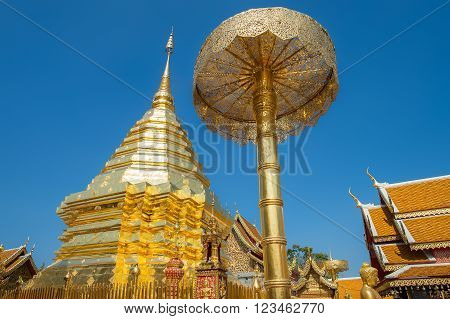 The golden stupa at Wat Phra That Doi Suthep in Chiang Mai. This Buddhist temple founded in 1383 is the most famous in Chiang Mai.