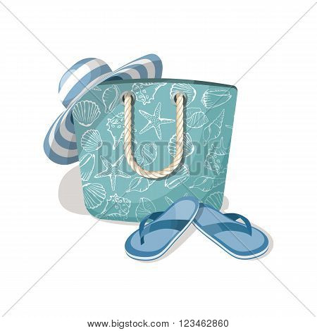 Fashion summer accessories, hat, bag and flip-flops. Vector illustration