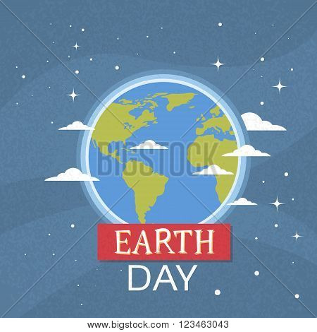 Earth Day World National April Holiday Globe Nigth View Emblem Ecological Protection Concept Flat Vector Illustration