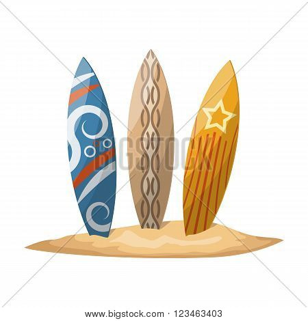Surfboards stuck in the sand. Vector illustration