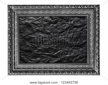 black and white picture frame with crumpled black paper isolated on a white background