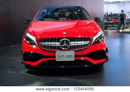 NONTHABURI - MARCH 23: NEW Mercedes Benz A 45 AMG on display at The 37th Bangkok International Motor show on MARCH 23, 2016 in Nonthaburi, Thailand.